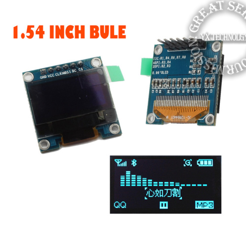 1.54 inch I2C IIC SPI Serial 128X64 blue OLED LCD LED Display Module for Arduino(China (Mainland))