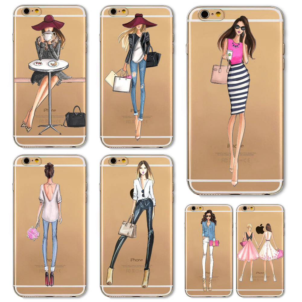 Girl Dress Shopping Fashion Phone Bag For iPhone 4 4S 5 SE 5S 6 6S 6