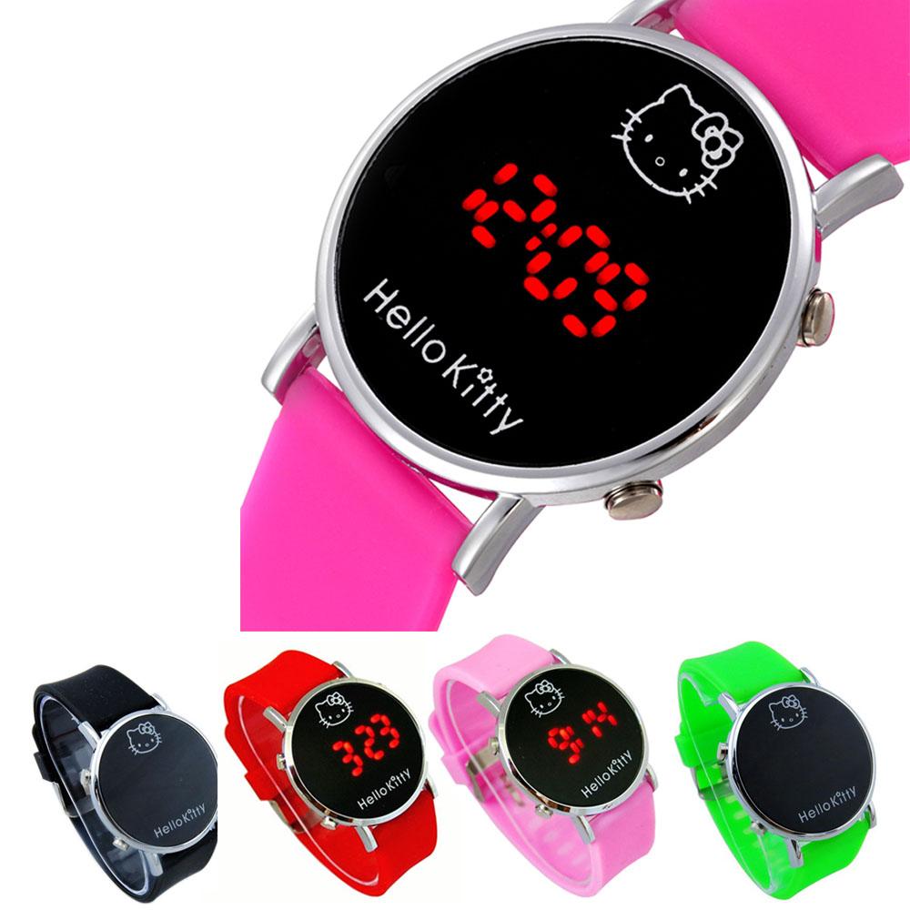 Cartoon Multi Color Watch Hello Kitty Baby Clock for Girls Kid Children Casual Silicone Digital LED Quartz Wristwatches Reloj(China (Mainland))