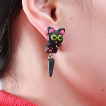 New Fashion Cute Handmade Polymer Clay Lovely Black Long tail Cat Animal Stud Earrings For Women brincos 0501(China (Mainland))