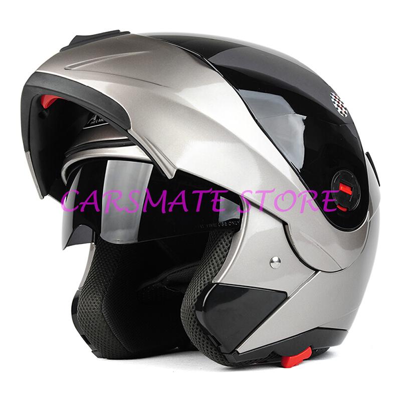 Hot Selling DOT Approved With Inner Sun Visor Flip Up Motorcycle Helmet Safety Double Lens Racing Motors Helmet(China (Mainland))