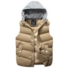 2016 Hot Sale Winter Hooded Vest Thick Warm Men Jacket Sleeveless Waistcoat Street Hoodie Style Male Plus Size 3XL Coat  661(China (Mainland))