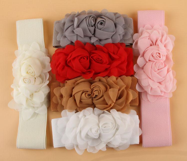 Designer Belts Women Hgh Quality Chiffon Double Rose Flower Buckle Elastic Waist Belt Lady Waistband 7 Colors WF-Belt-0046(China (Mainland))