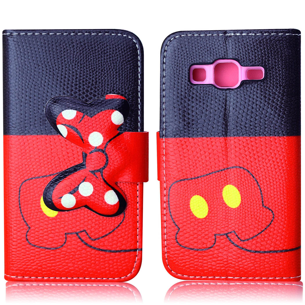 2015 Fashion Flip PU Leather Case For Samsung Galaxy Core Prime G360 G360H G3606 G3608 G3609 Carton Stand Card Holder Phone bags(China (Mainland))