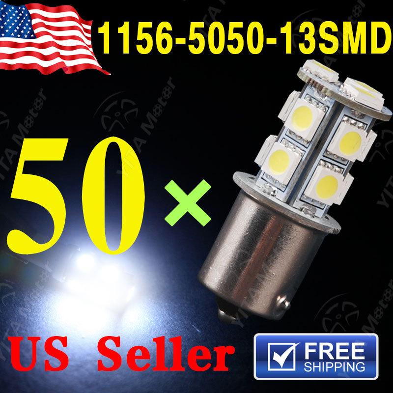 Wholesale 50pcs 1156 13SMD 5050 1093 1073 7527 BA15S LED Light Bulb Turn Signal White Light Bulb Lamp 12V led brake Light(China (Mainland))