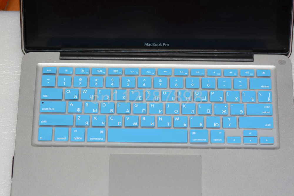 """New Light Sky Blue RU Russian-US Layout Silicone Keyboard Cover Skin Film For Macbook Pro 13"""" A1278 15"""" A1286 17"""" A1297(China (Mainland))"""