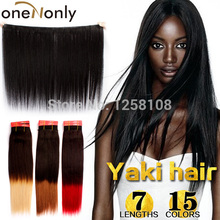 """1 Pieces Yaki Human Hair 100% Chinese Virgin Hair Pre-colored 10""""-24"""" Silky Yaki Straight Ombre Color Popular Burgendy OneNonly(China (Mainland))"""