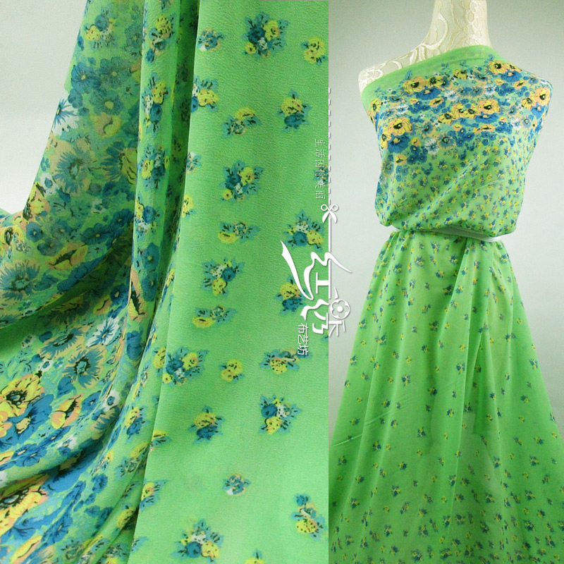 Green countryside positioning floral print chiffon fabric for Childrens dress fabric