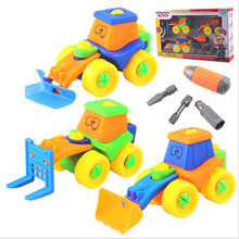 High quality 3pcs/box DIY removable character engineering truck children early education vehicle toys(China (Mainland))