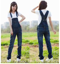 2015 Promotion Real Mid Fashion Women Casual Overalls,autumn Long Denim Jeans Work Farm Jumpsuits Straps Trousers Bib Overalls