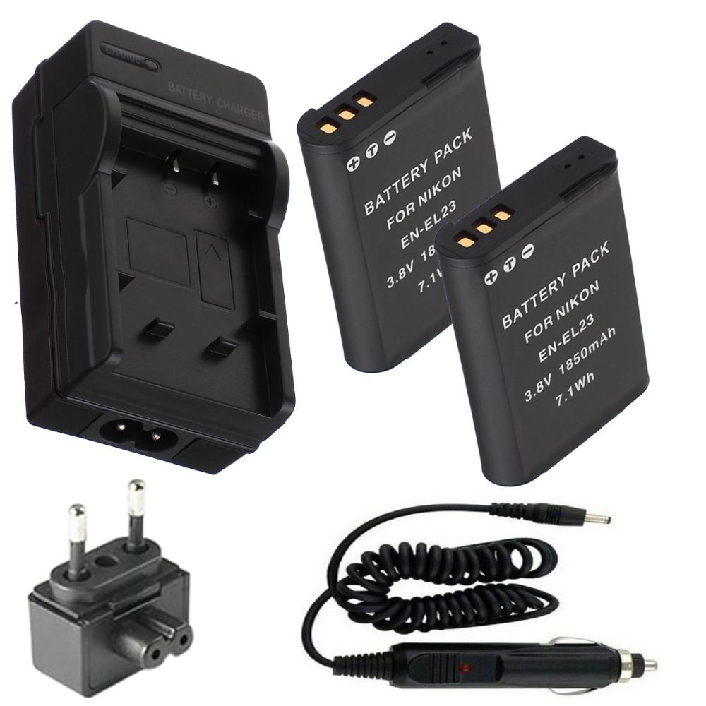 Battery (2-Pack) and Charger for Nikon EN-EL23,EN EL23  and Nikon Coolpix P600, S810c Digital Camera<br><br>Aliexpress