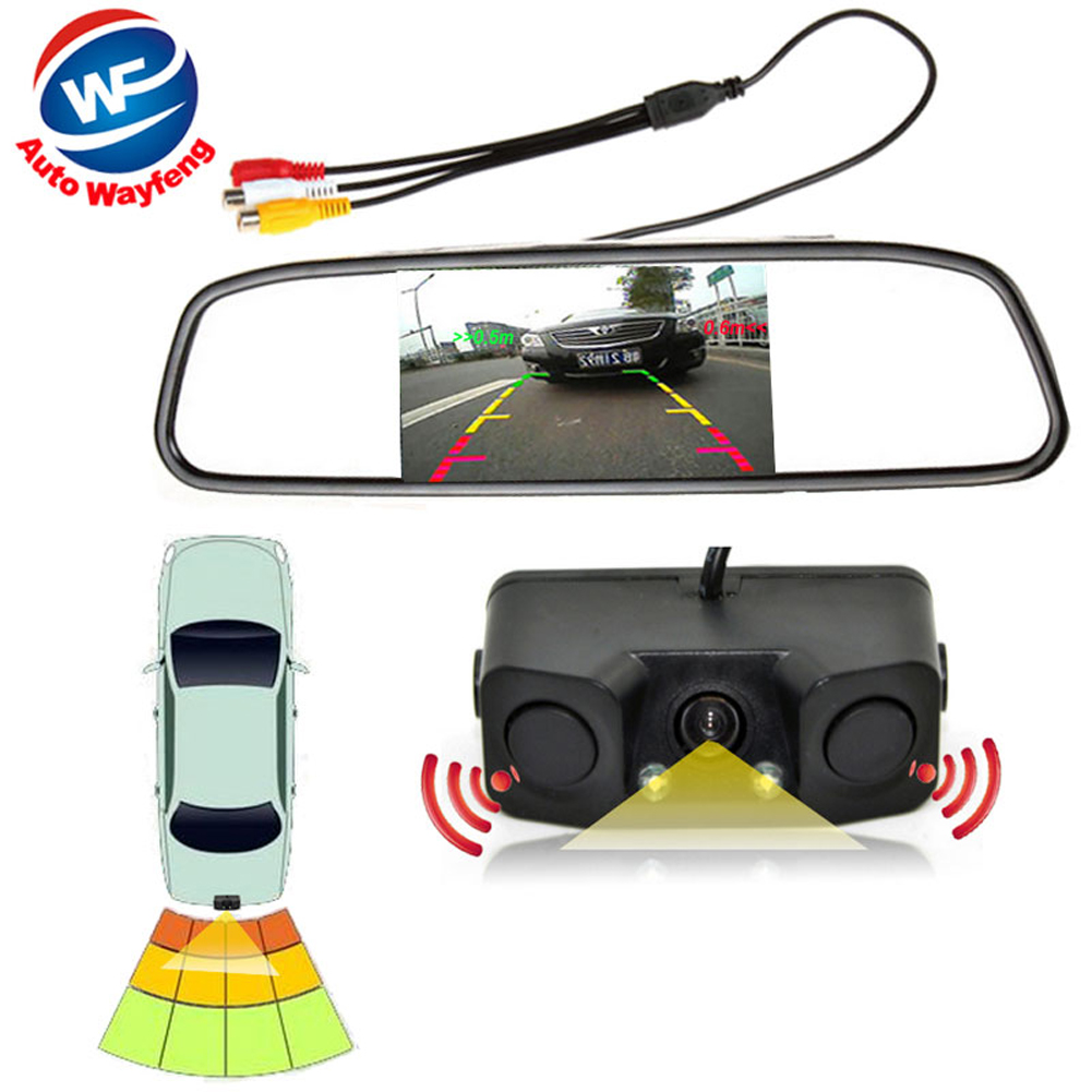3in1 Video Parking Assistance Sensor Backup Radar With Rear View Camera + 4.3 inch LCD Car Rearview Mirror Monitor Video Parking(China (Mainland))