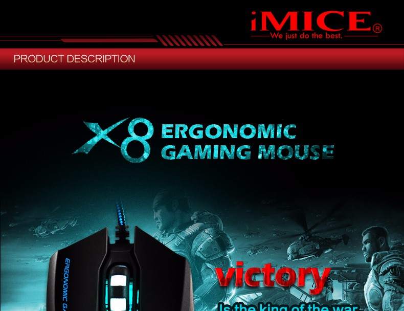 [Genuine] iMICE X8 Professional Mice 6 Buttons Gaming Mouse 3200DPI LED Optical USB Wired Computer Desktop Notebook Mouse Cable