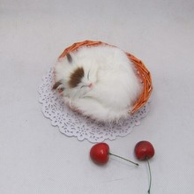 small cute simulation sleeping cat toy polytene & fur white cat toy in a small baskat gift about 10cm