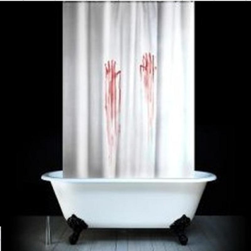 Witte Ladder Badkamer ~ Grappig Badkamer Producten Polyester Stof Gedrukt Bloed Vingerafdruk