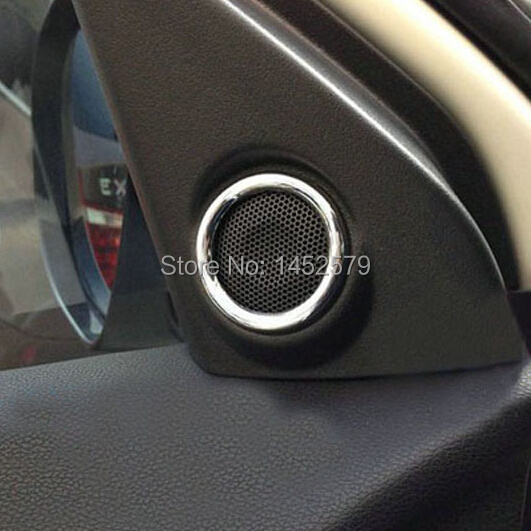 2psc /set ABS chrome trim audio ring car stickers door speaker decoration circle cover for Mitsubishi ASX 2011-2014 auto parts(China (Mainland))