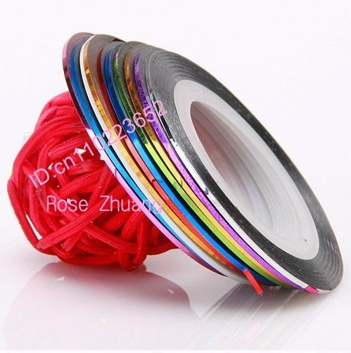 10 rolls colours mixed self-adhesive striping tape line nail art decorations manicure nail tools  SKU:XD0794
