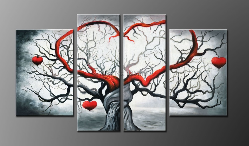 hand canvas Manufacturers selling pure hand-painted oil paintings abstract gray love sitting wall for room adornment 4 meetin(China (Mainland))