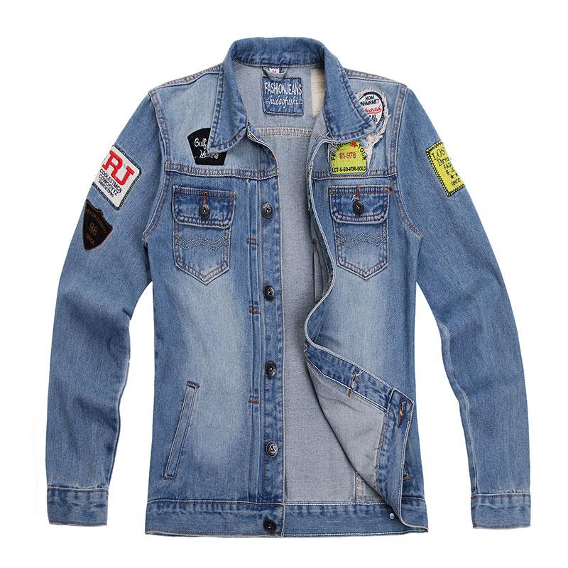 Men's Jacket 2016 Fashion Men Denim Jacket Cotton Casual Multi-angle Logo Brand Bomber Jacket Plus Size Blue Jacket Men Coat(China (Mainland))