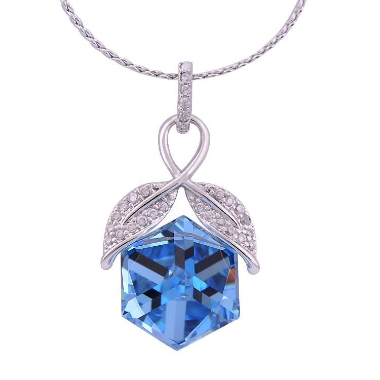 Original Design Trendy Full Rhinestone Blue CZ Diamond Square Pendant Necklace Platinum Lover Friendship Gifts(China (Mainland))