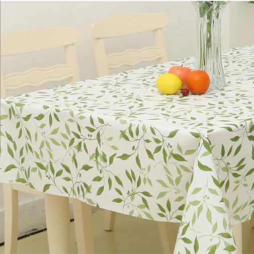 PVC Plastic Table Cloth Green Laves Oilproof Waterproof Scrub Easy Dining Table Cover Nappe Coffee Tablecloth Home Decoration(China (Mainland))