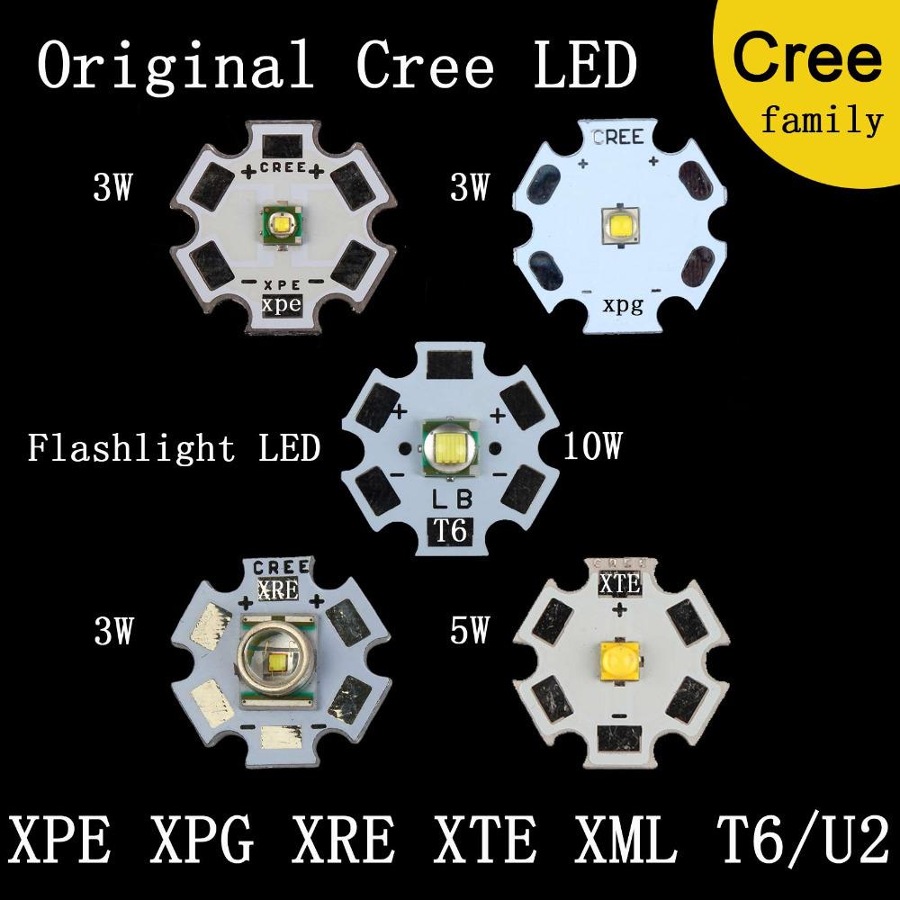 Original CREE Family XR-E Q5 / XP-G2 R5 / XT-E R5 MXL XM-L T6 XM-L2 / XP-E R3 LED Flashlight light Bulb Chip With 16mm Base(China (Mainland))