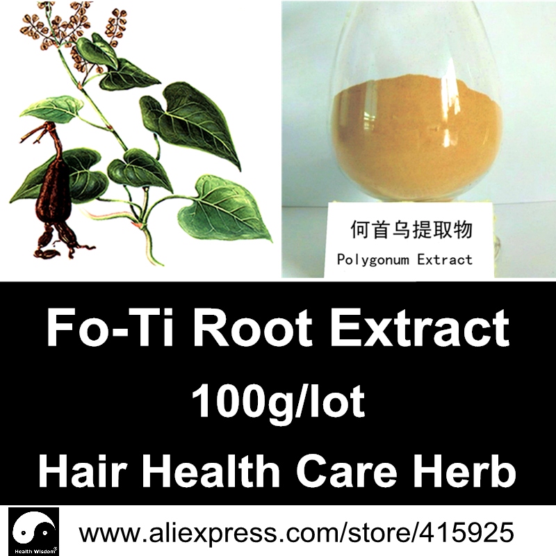 Pure He Shou Wu Root Extract Powder Chinese Hair Health Care Fo-Ti Natural Herbal Dietary Supplements Polygonum Multiflorum(China (Mainland))