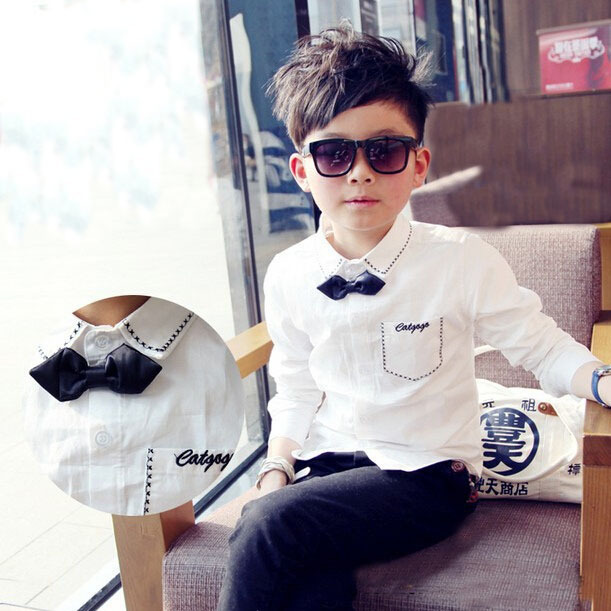 2015 New Boys Dress Shirts Solid Long Sleeve Bowtie Shirts Children Casual White Brand High Quality Boys Formal Clothing, YC059(China (Mainland))