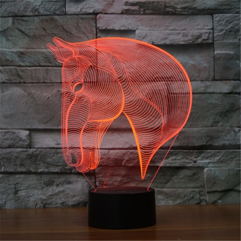Novelty 3d cartoon horse decor bulbing night light lamp gadget led lighting star wars home bedside nightlight for child gift(China (Mainland))