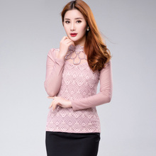long-sleeved Women Lace shirt New 2016 Spring Fashion casual gauze patchwork women blouses shirt plus size lace tops(China (Mainland))