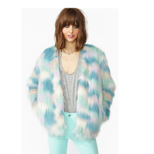2016 autumn Winter Faux Fur Top quality short Coat Long sleeve Style Luxury colorfulwomen  fake fur jacket Outwear for ladies(China (Mainland))