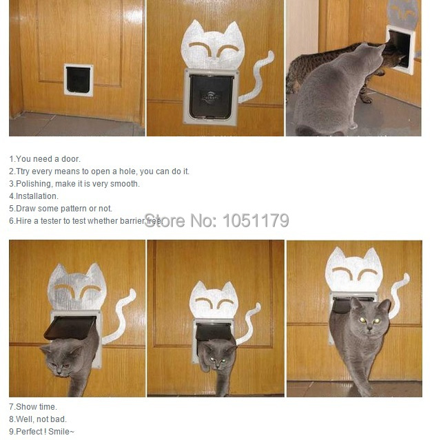 Free Shipping !!! 4 Way Safe Flap Suitable Locking Pet Door for Cat Small Dog(China (Mainland))