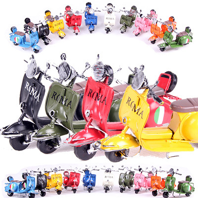 Wrought iron multicolor motorcycle toy Ms Roman little sheep model restore ancient ways furnishing articles decoration gifts(China (Mainland))