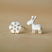 925 Sterling Silver Earrings For Women Christmas Style Snowflake Deer Stud Earrings Girl Fashion Jewelry Gift(China (Mainland))