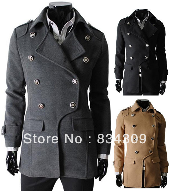 2013 New Mens Trench Coats Classic Double-Breasted Pea Coat Men's Man Trench Coat Overcoat Lapel Fashion Outwear Korean 3 Colors(China (Mainland))