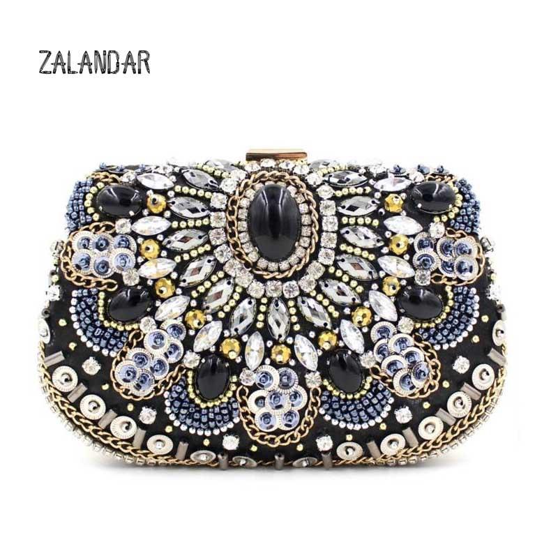 ZALANDAR Luxury diamonds peacock women clutch bags velvet rhinestones evening bags for wedding bridal party handbags with chains(China (Mainland))