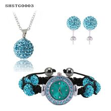 New Arrival Shamballa Set With Disco Balls Shamballa Bracelet Watch/Earring/Necklace Pendant Jewelry Set Bijoux Mariage SHSTG(China (Mainland))