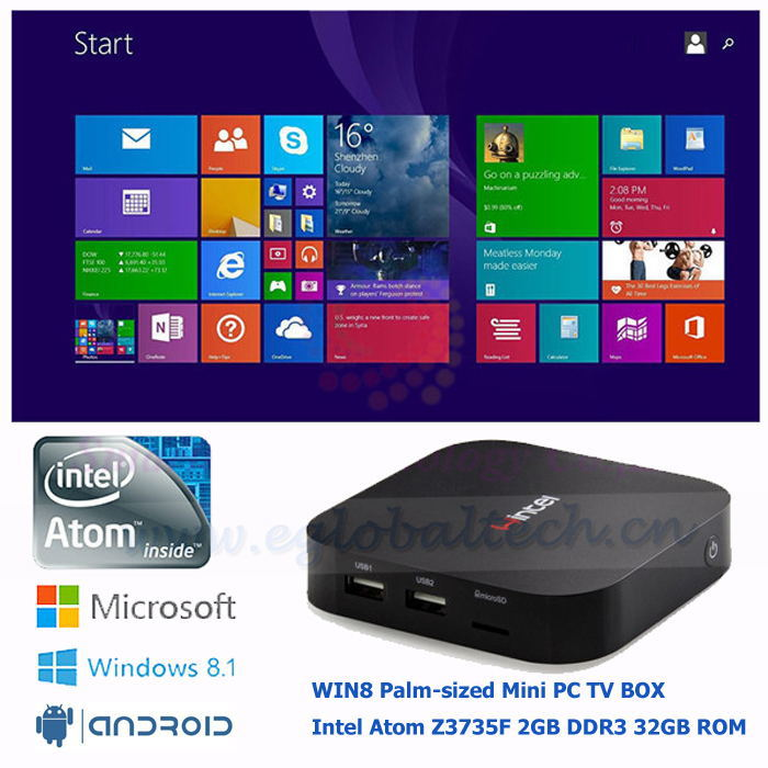New arrival Win8/Android TV Box Baytrail Mini PC Computer Pocket Car PC 5V/3A Intel Atom Quad Core Fanless Thin Client WINTEL(China (Mainland))