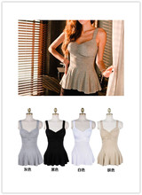 2014 Spring Autumn Women 100% Cotton Sexy Ruched Long Style Camisole Built In Padded Bra Slim Bottoming Shirt Lady Tank Tops (China (Mainland))