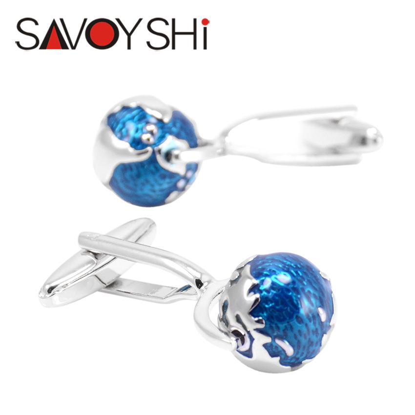 SAVOYSHI Jewelry Tellurion Cufflinks for Mens High Quality Brand Blue Enamel Moving Globe Modeling Cuff links 2016 Newest Style(China (Mainland))