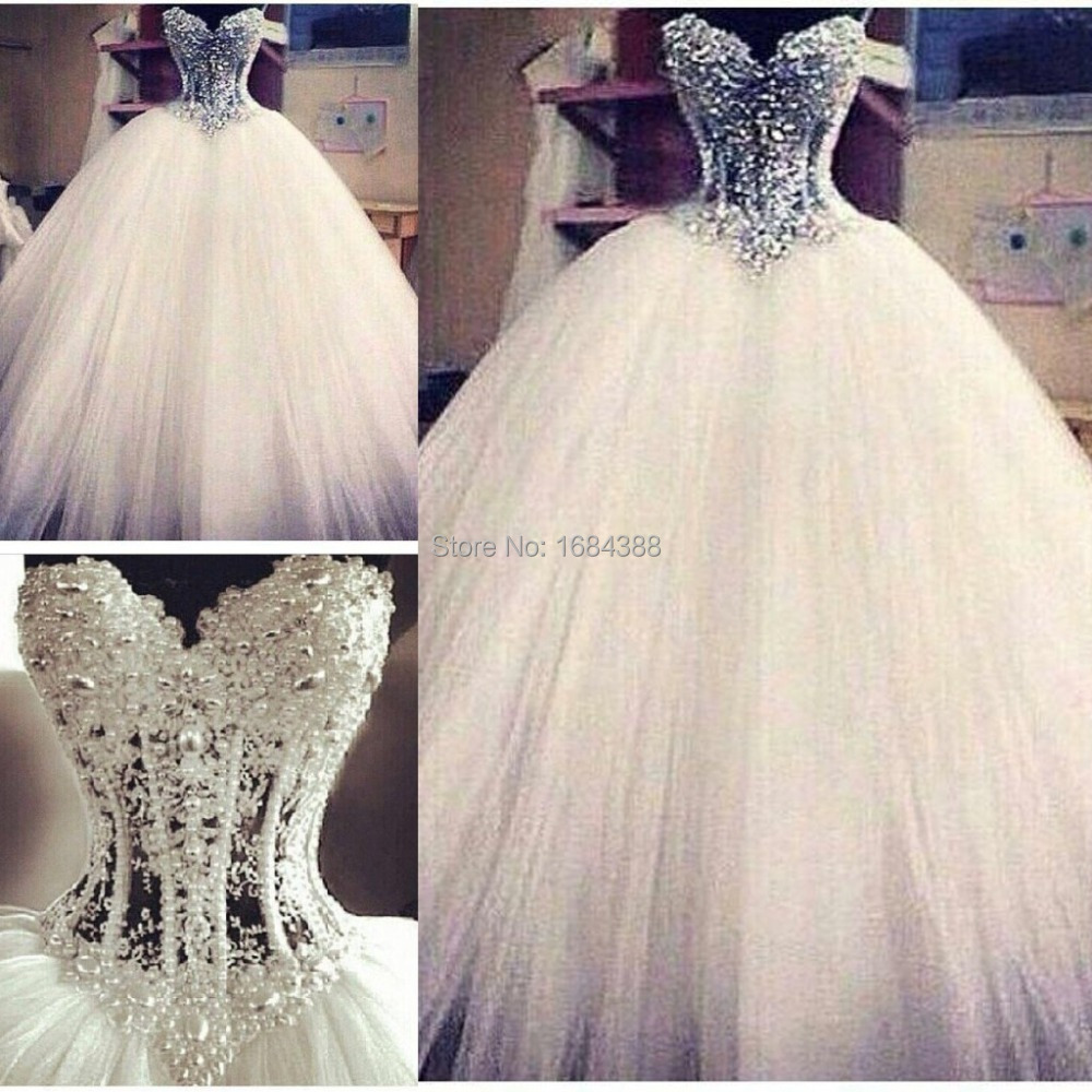 Fashion 2015 dazzling vestido de noiva latest design ball for Bling princess wedding dresses