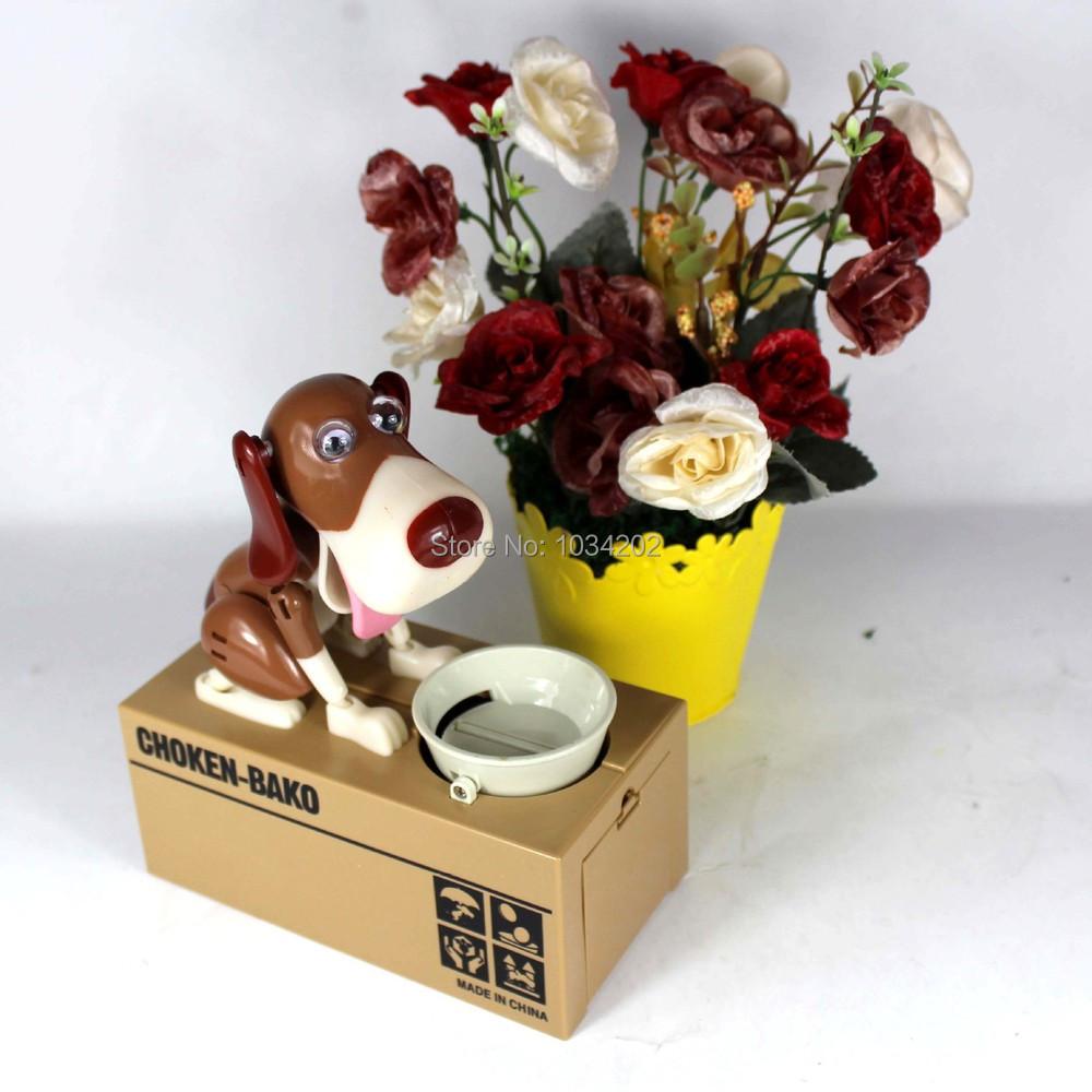 30pcs/lot free shipping Automated dog steal coin piggy bank,saving money box,coin bank,money bank novelty toys For kids(China (Mainland))