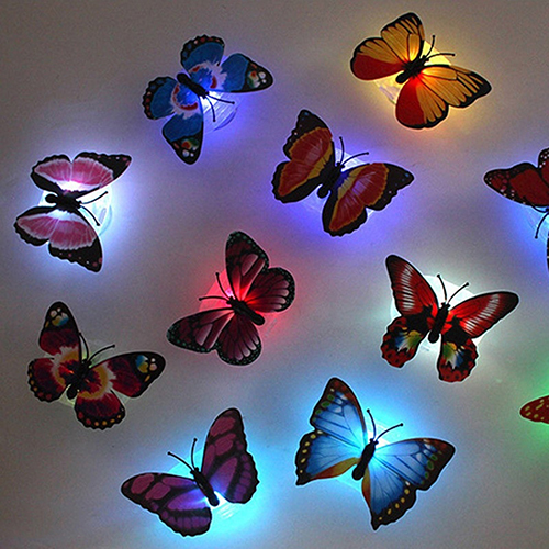 2016 Color Changing Cute Butterfly LED Night Light Home Room Desk Wall Decor(China (Mainland))