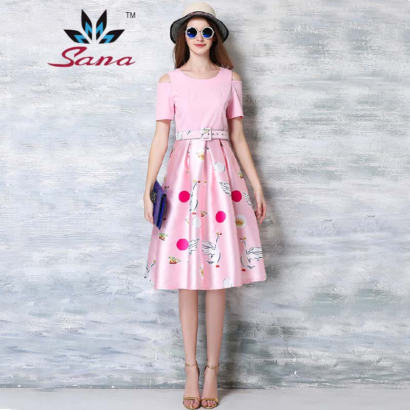 Sana Good Quality 2016 New Women summer dress patchwork swan printing with the belt knee-length pink cute Lady young ball gown(China (Mainland))