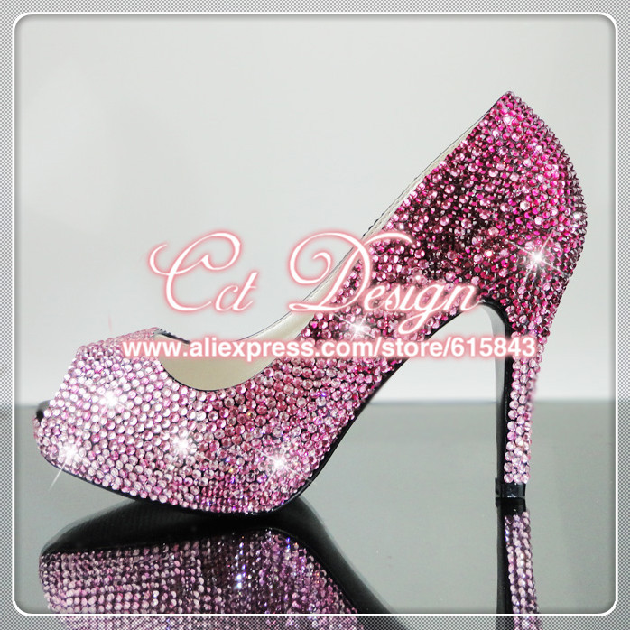 2015 new arrival sexy ladies rose and pink rhinestone peep toe wedding shoe 4inches low high heels bridal shoes free shipping<br><br>Aliexpress