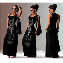 2019 נשים הקיץ ארוך מקסי שמלה מזדמן חתול הדפסת Boho חוף שמלה סקסי ערב מסיבת Bodycon שמלת Vestidos רגוס Mujer XXXL(China)