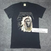 Meilleure Version 2014 Yeezus tournée de Kanye West yeezy Merch indienne coiffe crâne rouge lettre à manches courtes t-shirt tee HBA pyrex vision(China (Mainland))