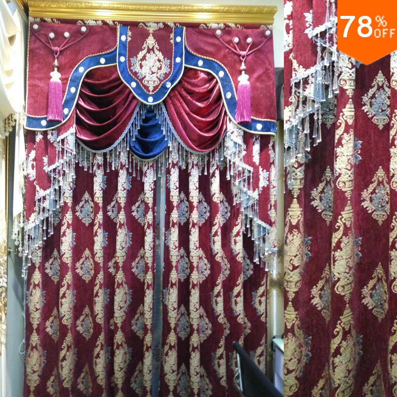 New OK Ultimate Luxury curtains Wine Red Classic designer's living room restaurant hall Curtain Wedding Curtain for Dinning Room(China (Mainland))
