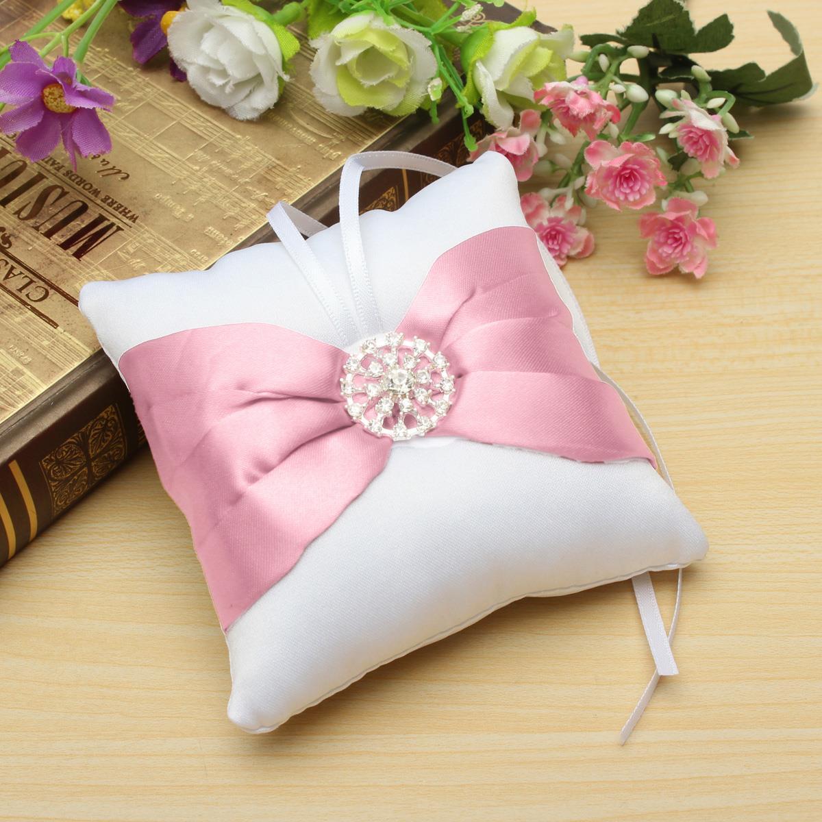 9cm*9cm Bowknot Diamante Display Cushion Romantic Wedding Ring Gift Cube Pillow Storage Beautiful White Satin(China (Mainland))