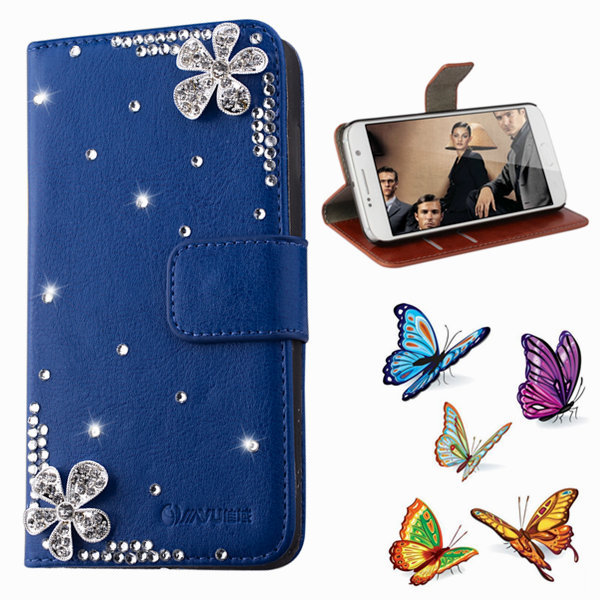 luxury Flower Floral PU leather Phone Bags & Cases For samsung galaxy s6 g9200 Mobile Accessories Crystal Flip Cover holster(China (Mainland))